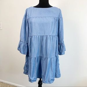 Zara Chambray Tiered Babydoll Dress